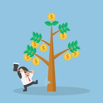 돈의 사업가 절단 나무