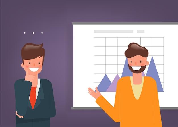 プレゼンテーションボードのキャラクターのビジネスマンデータ。