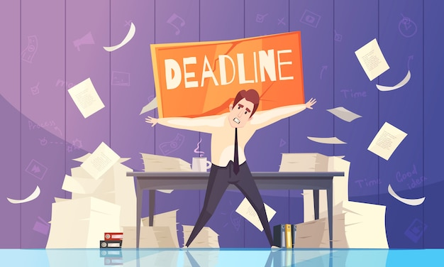 Businessman deadline problems cartoon