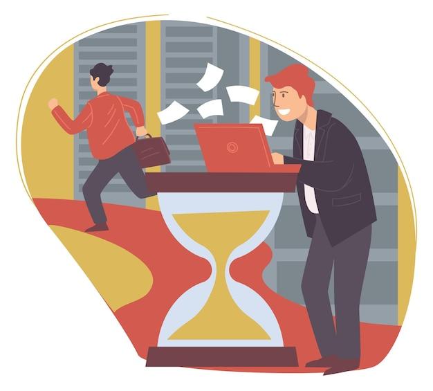 시간 관리와 생산적이고 효과적인 작업을 다루는 사업가. 모래 시계에서 작업 하는 노트북과 관리자입니다. 비즈니스 개발의 멀티태스킹 기업가. 평면 스타일의 벡터