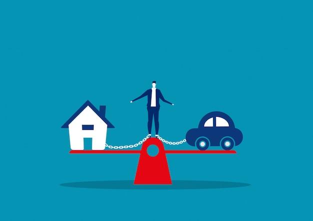 Бизнесмен долг дом и автомобиль на шкале кредита концепция