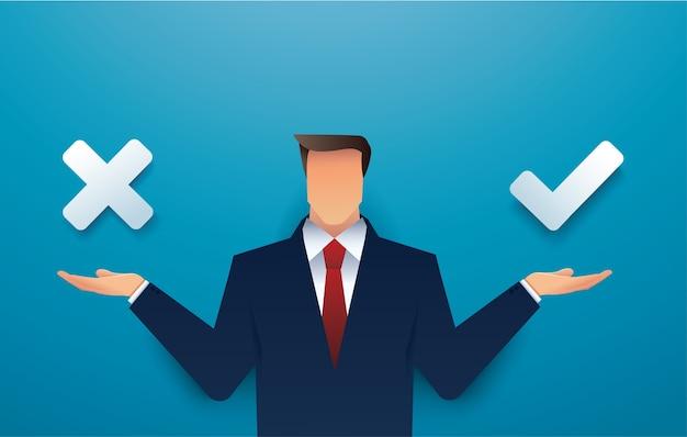 Бизнесмен решение между правильным и неправильным делая выбор