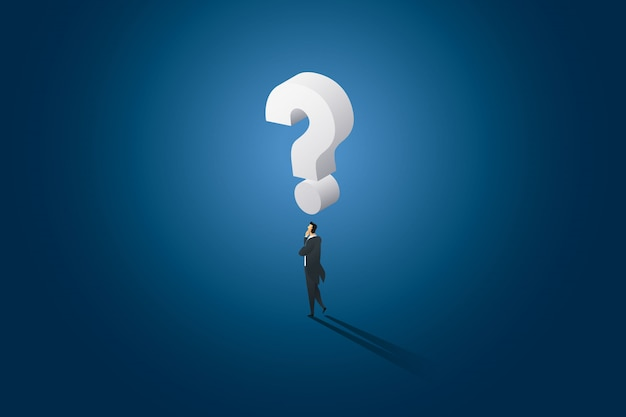 Businessman decision standing thinking and has huge question mark on top head.