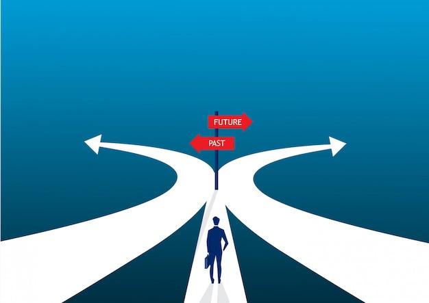 Бизнесмен решение двумя способами о прошлом и будущем пути.