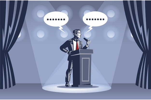 ビジネスマンはスポットライトの下でステージでスピーチを提供します