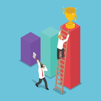 Businessman destroy the ladder of success