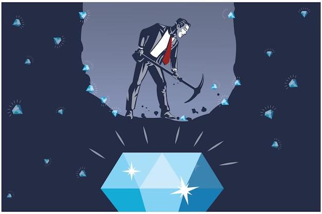 最大のダイヤモンドイラストコンセプトを見つけようとしているビジネスマン掘り穴