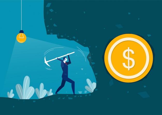 夜の概念ビジネス冒険ベクトルでお金を見つけるために掘る実業家