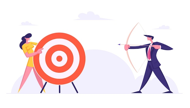 Businessman direct arrow to target flat illustration