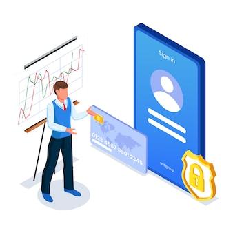 ビジネスマンはモバイルアプリのプロモーションを行います。アプリケーション画面インターフェイスを持つ男性。