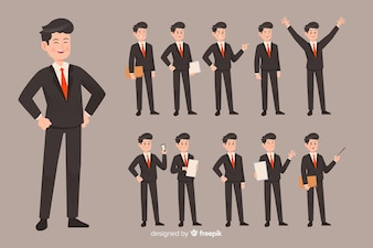 Businessman doing different actions