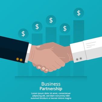 握手概念をしている実業家。成功を達成するためのビジネスパートナーシップ。
