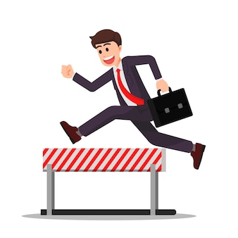 Businessman doing hurdling while holding a briefcase
