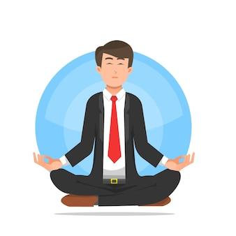 A businessman doing meditation to calm down