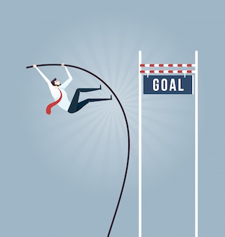 Businessman doing pole vaulting for jumping the goal