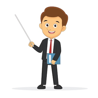 Бизнесмен делает презентацию плоской иллюстрации