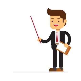 Businessman doing presentation flat vector illustration