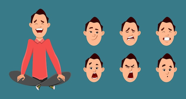 Businessman doing yoga or relax meditation. businessman character with different type of facial expression