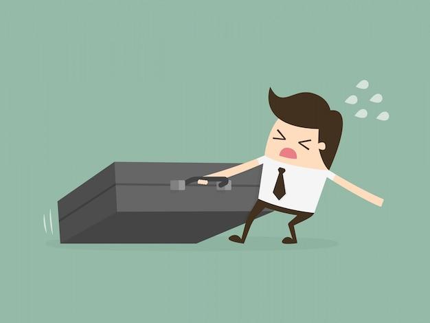 Businessman dragging huge briefcase. hard working.