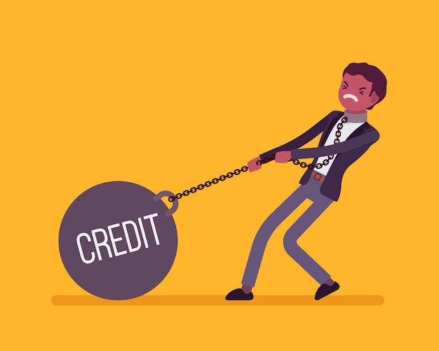 Businessman dragging a weight credit on chain
