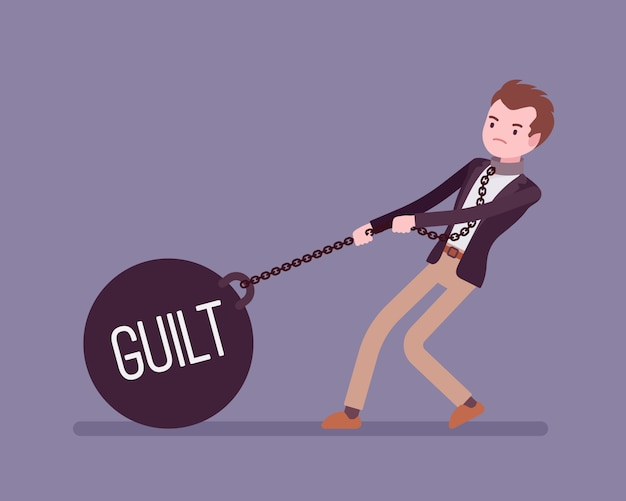 Businessman dragging a weight guilt on chain