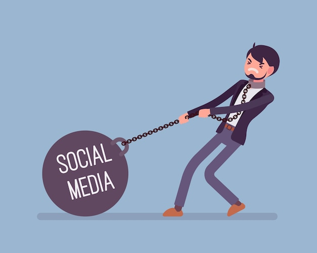 Businessman dragging a weight social media on chain