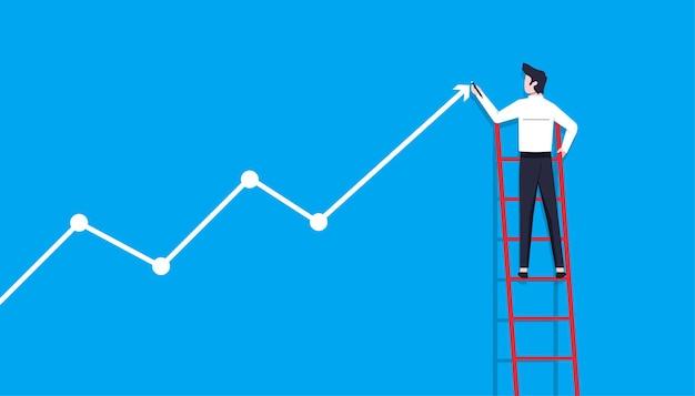 矢印線のシンボルを描くビジネスマン。ビジネスの成功とキャリアの成長の図