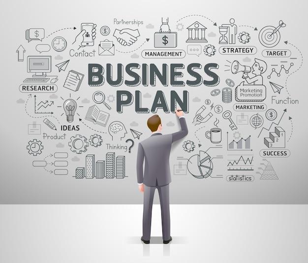 Бизнесмен, тянущий бизнес-идею каракулей на стене