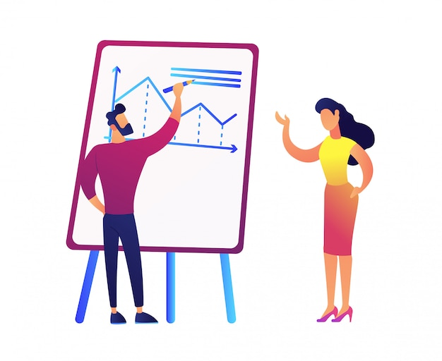 Businessman drawing chart and discussing it with businesswoman vector illustration.