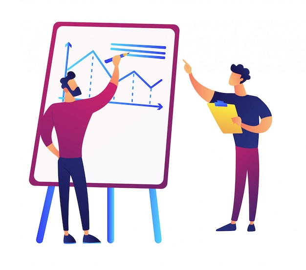 クリップボードとプレゼンテーションボードとマネージャーのグラフを描くビジネスマンベクトルイラスト。
