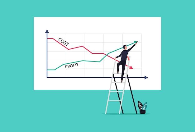 Бизнесмен, рисующий графики прибыли против иллюстрации концепции снижения затрат
