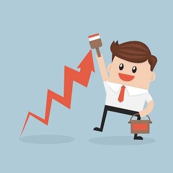 График роста чертежа бизнесмена на стене