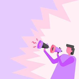 Бизнесмен, рисунок, держащий пару мегафонов, делая громкое новое объявление, рисунок человека с использованием