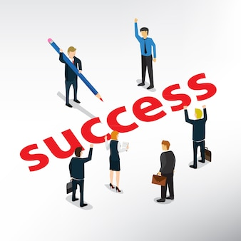 Businessman drawing success for business people