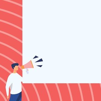 Бизнесмен рисунок разговаривает через мегафон, делая новое замечательное объявление. рисунок человека, выступающего в магнитофон, производящего блестящую позднюю рекламу.