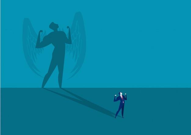 スーパーリーダーの影の概念ベクトルであることを夢見て実業家