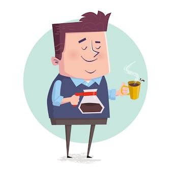 休憩中にコーヒーを飲むビジネスマン