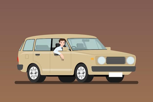 그림을 작동하는 오래 된 차를 운전하는 사업가
