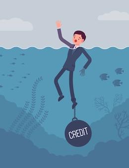 Бизнесмен тонет прикованный к весу кредит