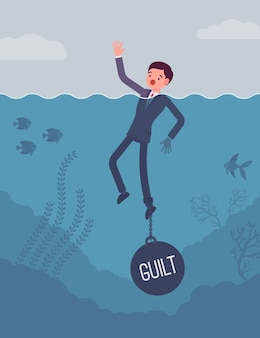 Businessman drowning chained with a weight guilt