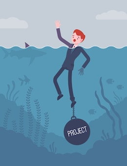 Businessman drowning chained with a weight project