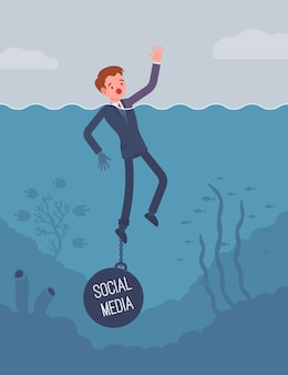Businessman drowning chained with a weight social media