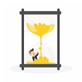 Businessman drowning inside hourglass