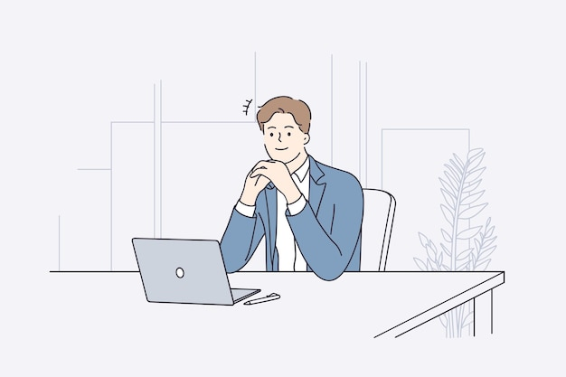 Businessman during work planning concept