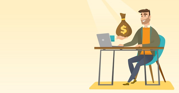 Businessman earning money from online business.