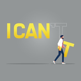 Businessman edit text i can not to i caninspirational concept illustration