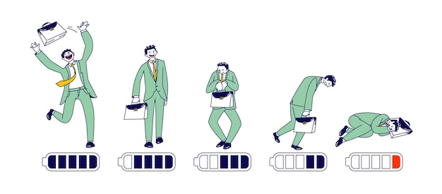 Businessman energy level timeline from happy active position till exhausted tired man lying on floor sleeping with low battery charge. male character working week or day. linear vector illustration