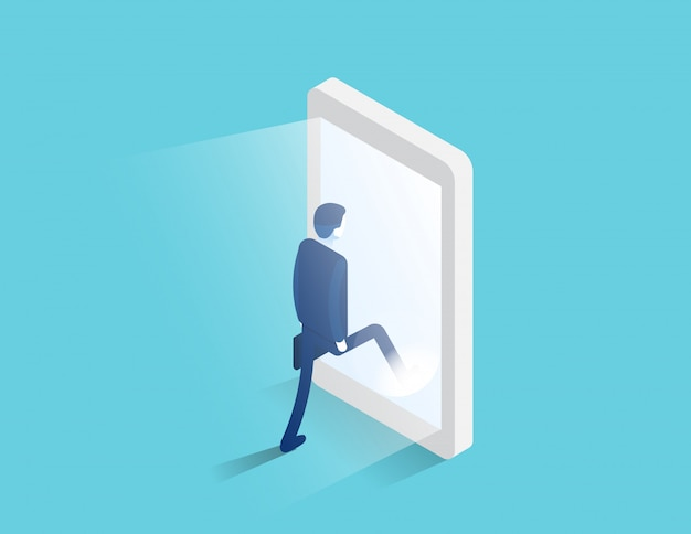 Businessman enters a glowing smartphone screen. digital portal and access