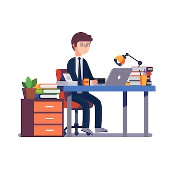 Businessman entrepreneur working at office desk.