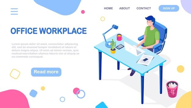 Businessman entrepreneur working at his office desk. isometric illustration